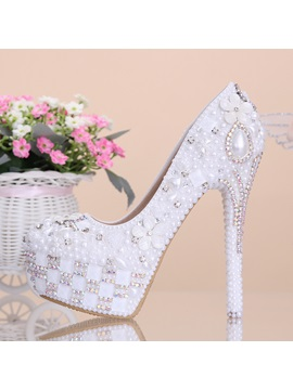 White Flowers Pearl Diamond High Heels Wedding Shoes