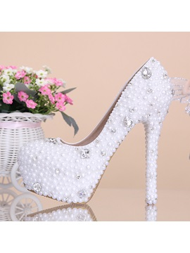White Flowers Pearl Platform Wedding Shoes High Heels Wedding Pcoolos Bridal Shoes