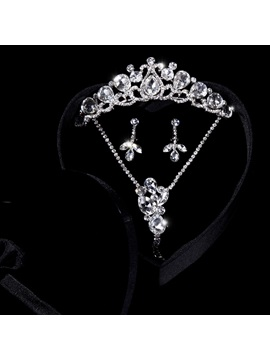 Preety Big Crystal Rhinestone Wedding Jewelry Set Wedding Dress Accessories(include Tiara Necklace And Earring )