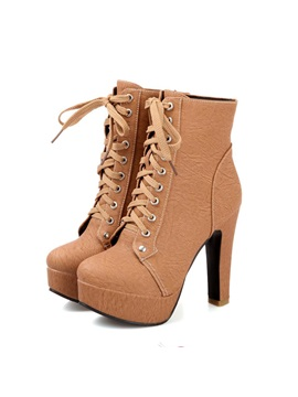 Multi Colour Lace Up Stiletto Heels Short Boots