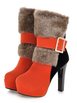 Multi Colour Patchwork Buckle With Fur Stiletto Heel Shoes
