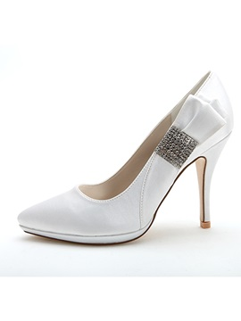 Style Bowknot Beading High Heel Wedding Shoes
