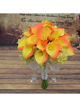 Delicate Yellow Pu Feel Calla Lily Flower Wedding Bouquet