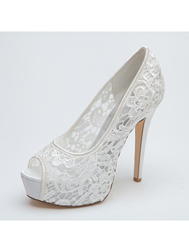 Classy Peep Toe High Heel Lace Wedding Shoes