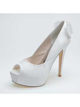 Classy Peep Toe High Heel Bowknot Wedding Shoes
