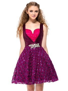 Lovely Straps Sweetheart Sequins Crystal A Line Short Homecoming Dress