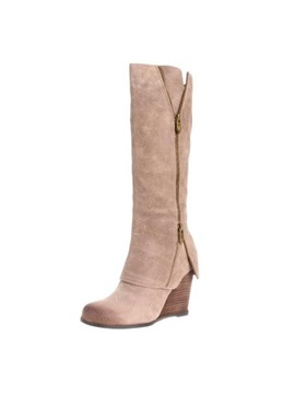 Knee High Side Zipper Wedge Boots