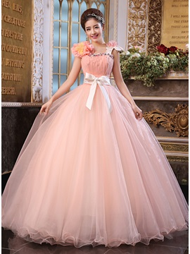 Dramatic A Line Straps Crystal Shshes Ribbons Long Quinceanera Dress