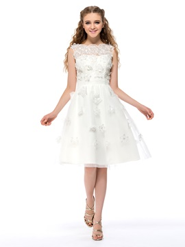 A Line Bateau Neckline Flowers Knee Length Homecoming Sweet 16 Dress