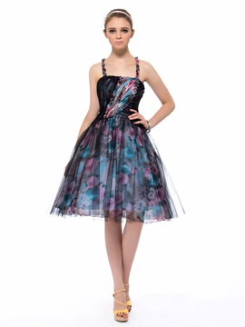 Stylish A Line Spaghetti Straps Floral Print Knee Length Party Homecoming Dress