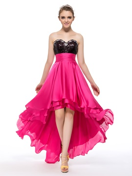 Sweetheart Sequins Beading Asymmetrical A Line Prom Homecoming Dress