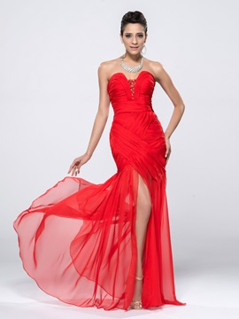 Sequins Ruched Beading Sweetheart Split Front Long Evening Dress