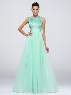 Popular A Line Bateau Neck Bowknot Beading Long Prom Dress