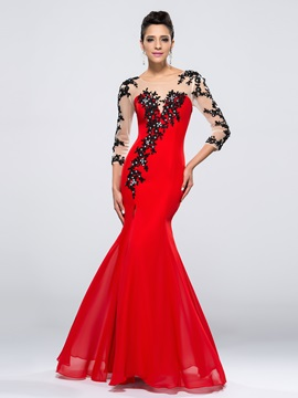 Enchanting Mermaid 3 4 Length Sleeves Appliques Split Front Long Evening Dress
