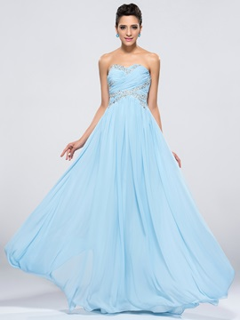 Dazzling Sweetheart Sequins Pleats A Line Long Prom Dress Designed