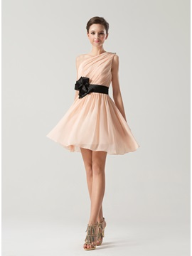 Cute One Shoulder Strap Mini Chiffon A Line Bridesmaid Dress