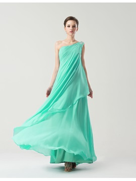 Simple Style Floor Length Sheath One Shoulder Bridesmaid Dress