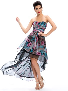 Delicate Sweetheart Floral Printing Asymmetry Up Homecoming Dress