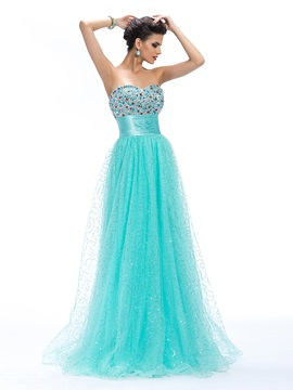 A Line Sweetheart Beading Empire Waistline Floor Length Prom Dress