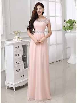 A Line Scoop Neckline Lace Beading Short Sleeves Long Prom Dress
