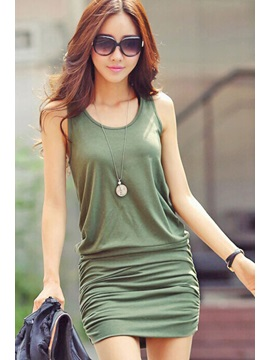 Green U Neck Off Shoulder Sheath Dress