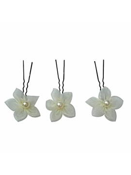 Stunning Ivory Flower With Pearl Wedding Bride Hairpin Including Six