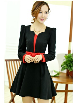 Multi Color Long Sleeve Round Neck Bowknot Dress