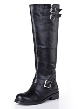 Black Oxhide Round Toe Chunky Heel Long Boots