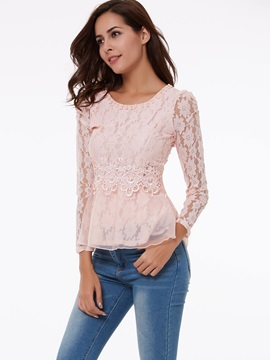 Solid Color Lace Beads Base Shirt