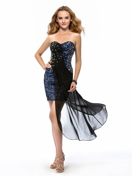 Sparkling Sheath Sweetheart Beading Sequins Short Cocktail Dress
