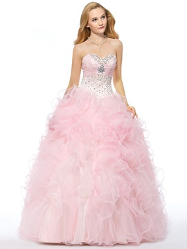 Great Sweetheart Cascading Ruffles Beading Lace Up Long Quinceanera Dress