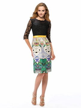 Eye Catching Column Jewel Neckline Half Sleeves Lace Pattern Knee Length Party Dress