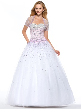 Luxurious A Line Sweetheart Sequins Beading Lace Up Floor Length Quinceanera Dress With Jacket Shawl