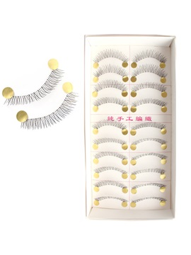 10 Pairs Handmade Black False Eyelashes