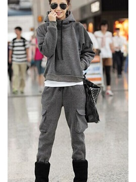 High Neck Sleeve Grey Long Hooded Costume
