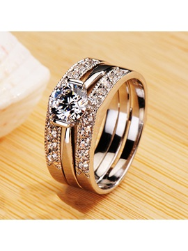 Delicate Nscd Eight Hearts Eight Arrows Diamond Pt950 Engagement Wedding Ring Set