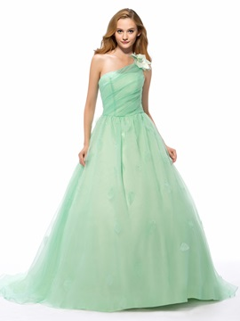 Simple Style One Shoulder A Line Flower Chapel Train Long Quinceanera Dress