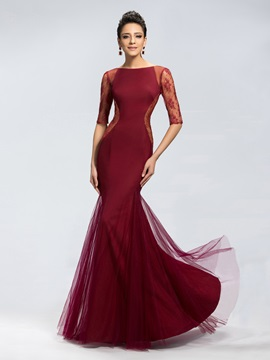 Trumpet Lace Half Sleeves Long Evening Dress Designed