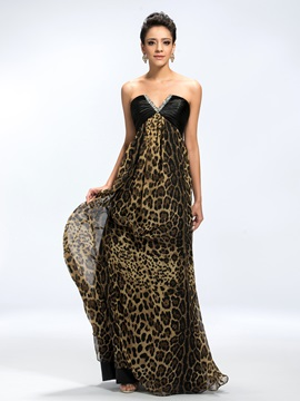 Chic A Line V Neck Sequins Beading Ruched Leopard Print Long Evening Dress