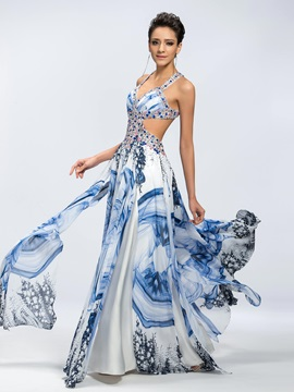 A Line Beading Floral Print Criss Cross Straps Floor Length Prom Dress