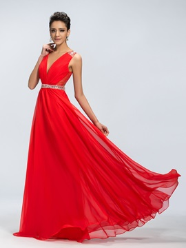 Epidemic A Line Deep V Neck Open Back Sequins Long Prom Dress