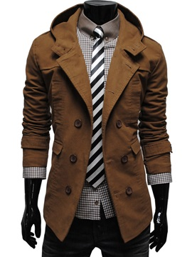 Brown Lapel Double Breasted Overcoat