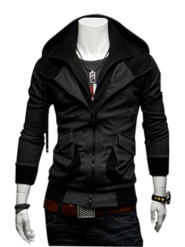 Dark Gray Lapel Zip Front Slim Hoodie For Men