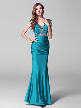 Deep V Neck Beading Floor Length Evening Dress