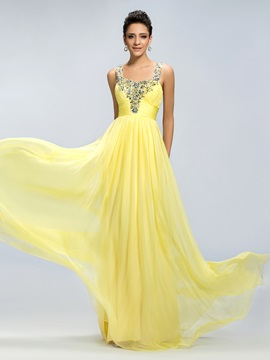 Eye Catching Beading Straps Ruched Empire Waistline Long Prom Dress Designed
