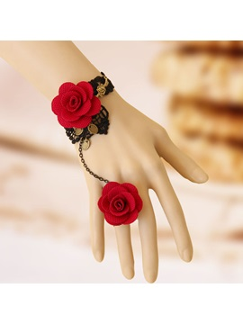 Elegant Red Rose Handmade Lace Bracelet With Rose Ring