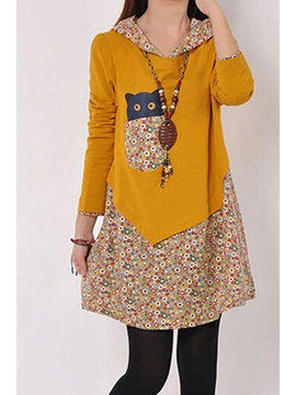 Floral Print Hooded Thicken Casual Dress