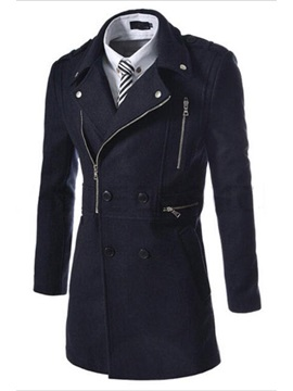 Lapel Double Breasted Long Overcoat