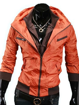 Lapel Zip Front Hooded Outdoor Jacket