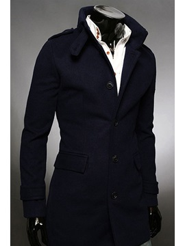 Stand Collar Single Breasted Overcoat
